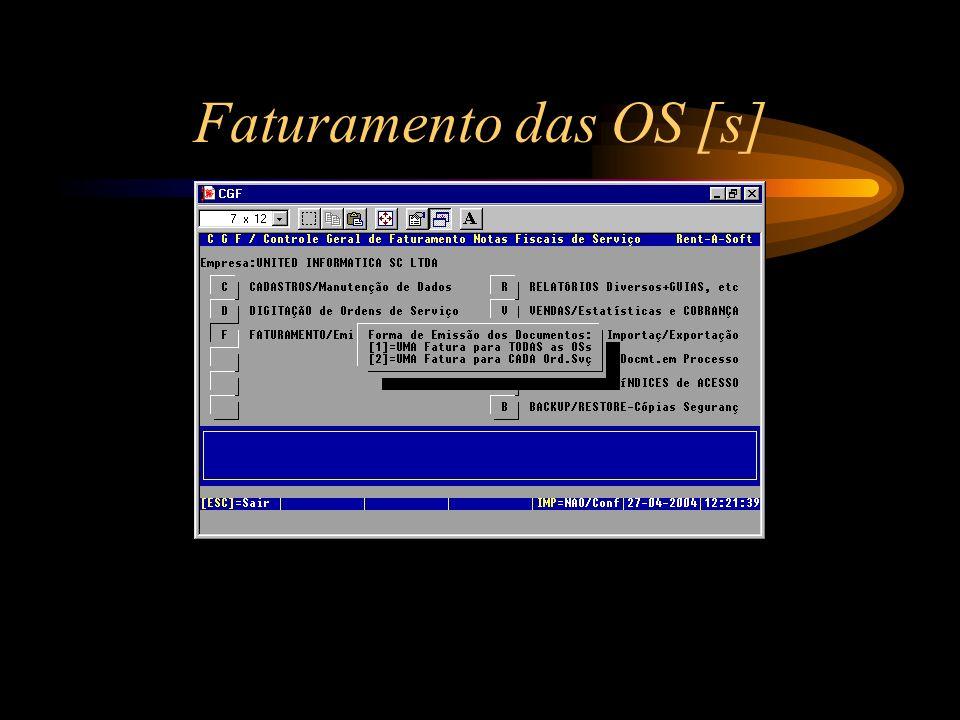 Faturamento das OS [s]